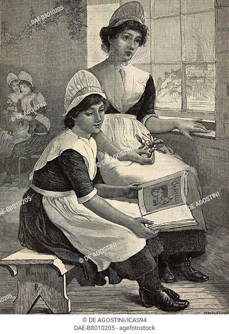 Girls in orphanage play and read, engraving from a drawing by Marcella Walker from The Illustrated London News, vol 89, no 2488, December 25, 1886