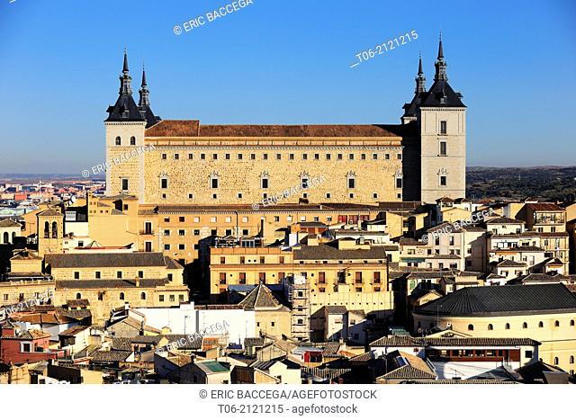 View over the city of Toledo to the Alcazar castle, Toledo, Castilla de la Mancha, Spain