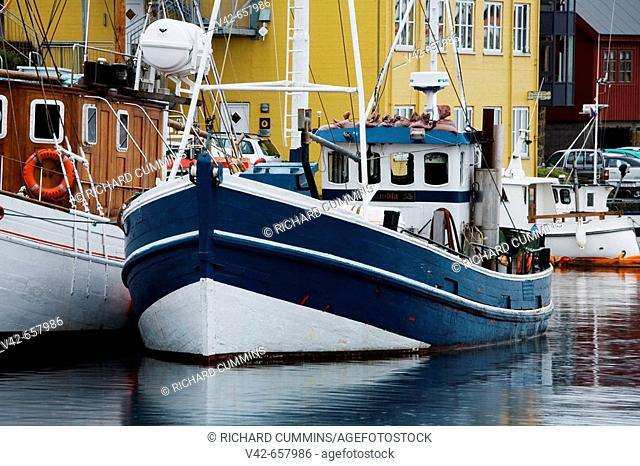Wooden Trawlers in Port of Torshavn, Faroe Islands, Kingdom of Denmark