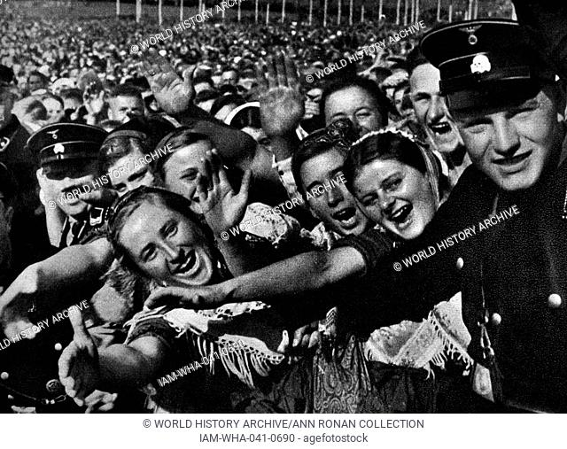 Adolf Hitler 1889-1945. receiving the adulation of a crowd in Buckeberg 1935