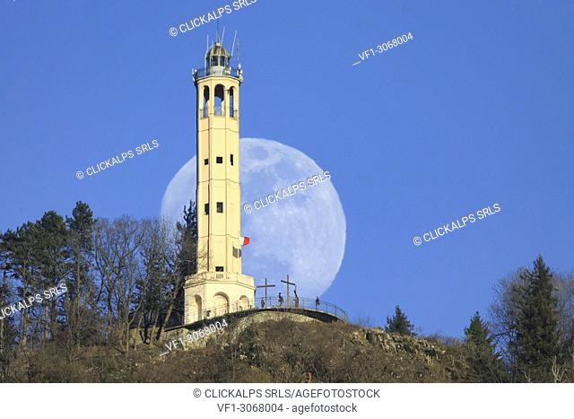 Faro Voltiano (Volta Lighthouse) of Brunate in front of the Moon, Brunate, Province of Como, Lombardy, Italy, Europe
