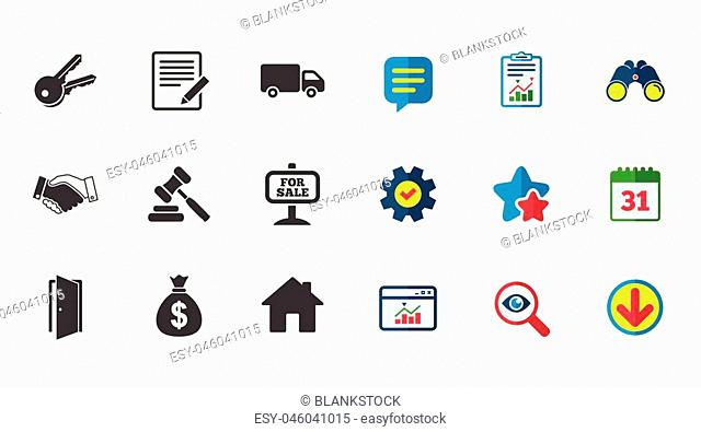 Real estate, auction icons. Handshake, for sale and money bag signs. Keys, delivery truck and door symbols. Calendar, Report and Download signs
