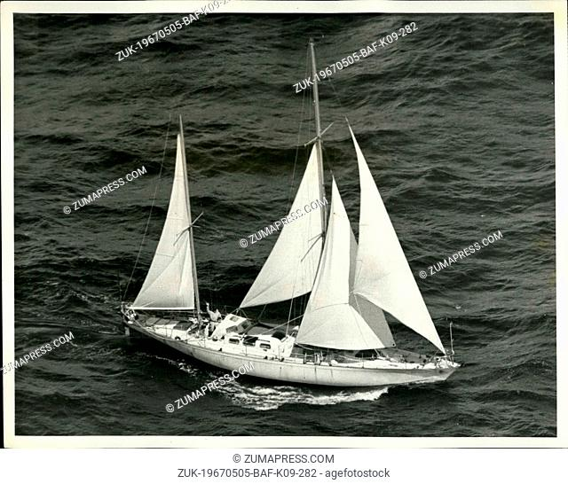 May 05, 1967 - SIR FRANCIS CHICHESTER ON LAST LAP: LONE BRITISH YACHTSMAN SIR FRANCIS CHICHESTER, 66, WAVES FROM THE COCKPIT OF 53-FOOT GIPSY MOTH IV TO THE...