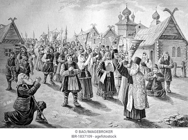 Cholera procession in Russia, historical illustration, ca. 1893
