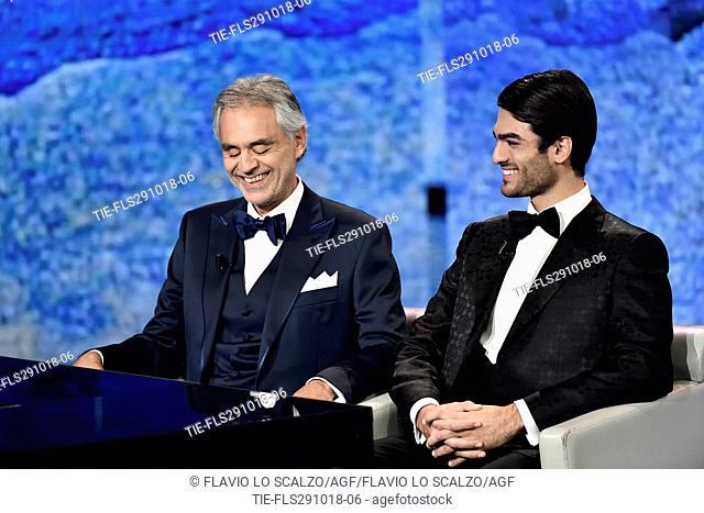 The tenor Andrea Bocelli wirth son Matteo Bocelli during the tv show Che tempo che fa, Milan, ITALY-28-10-2018
