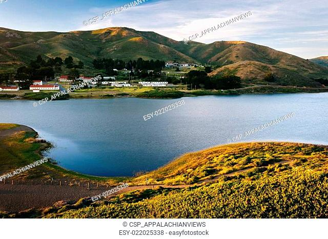 Evening view of Rodeo Lagoon at Golden Gate National Recreation Area, in San Francisco, California