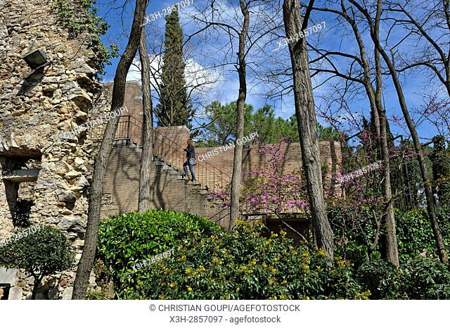 Jardins dels Alemanys (German's garden) at the foot of the ramparts, Girona, Catalonia, Spain, Europe