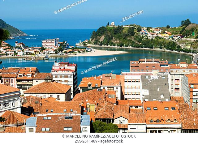 View of Ribadesella, small municipality in the Autonomous Community of the Principality of Asturias, Spain