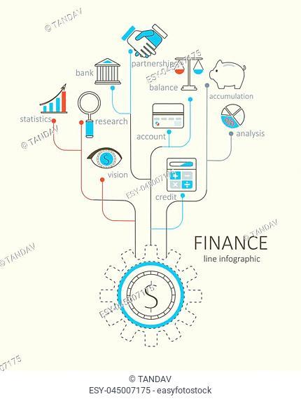 Flat design modern vector illustration infographic outline Finance concept
