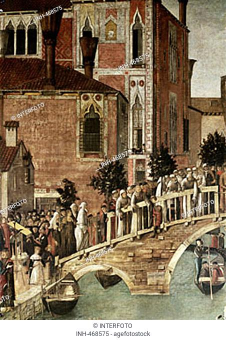 fine arts, Bellini, Gentile, (circa 1429 - 1507), painting, 'miracle of the cross at the bridge of San Lorenzo', detail, 1500, tempera on canvas