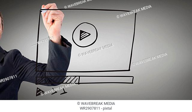 Business man with marker and website mock up against grey background