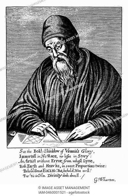 Euclid fl300 BCAncient Greek mathematician  Frontispiece of an edition of his 'Elements of Geometry' published London 1661