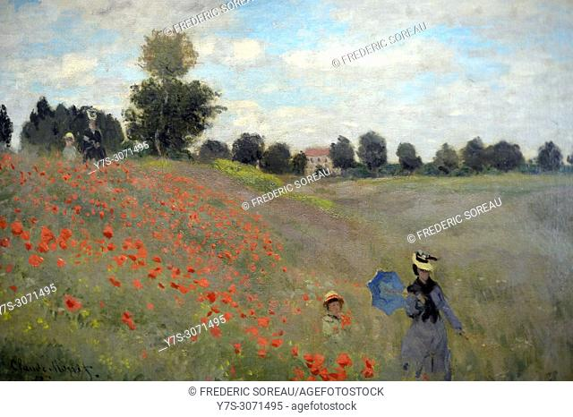 Poppies at Argenteuil, 1873, Claude Monet (1840-1926), Musee d'Orsay, Orsay Museum, Paris, France, Europe