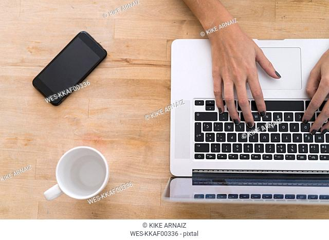 Hands of a woman using laptop