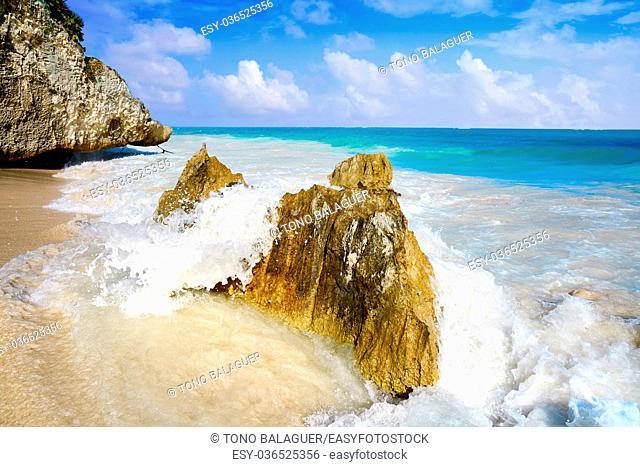 Tulum turquoise beach in Riviera Maya at Mayan