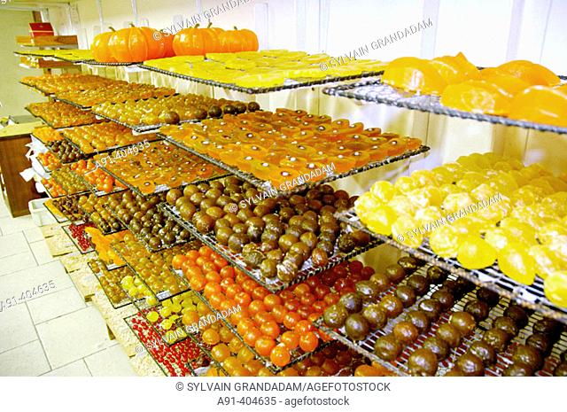 Sylvie and Denis Rastouil's workshop of candied fruits. Beaumettes, Luberon region. Vaucluse, Provence, France