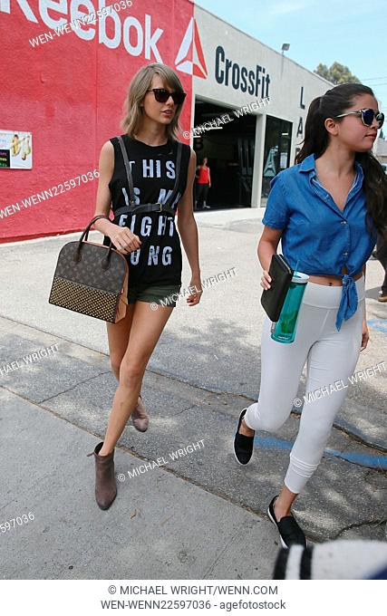 Selena Gomez and Taylor swift head to Ago Restaurant in Los Angeles for lunch together Featuring: Taylor Swift, Selena Gomez Where: Los Angeles, California