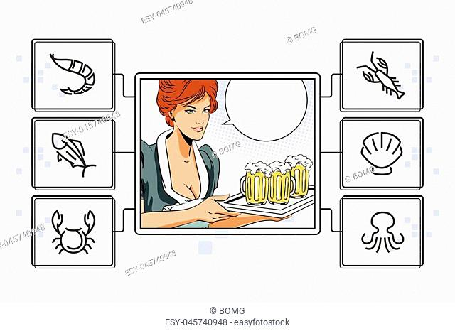 Stock illustration. People in retro style pop art and vintage advertising. Girl waitress with beer. Infographic for your brand