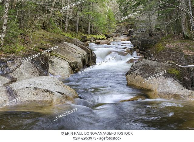 Cascade along the Pemigewasset River near the Flume Visitor Center in Franconia Notch State Park of Lincoln, New Hampshire during the spring months
