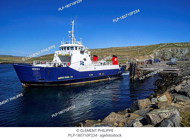 Bigga, passenger and car ferry that operates on Bluemull sound service, SIC Ferries leaving Belmont on Unst, Shetland Islands, Scotland, UK