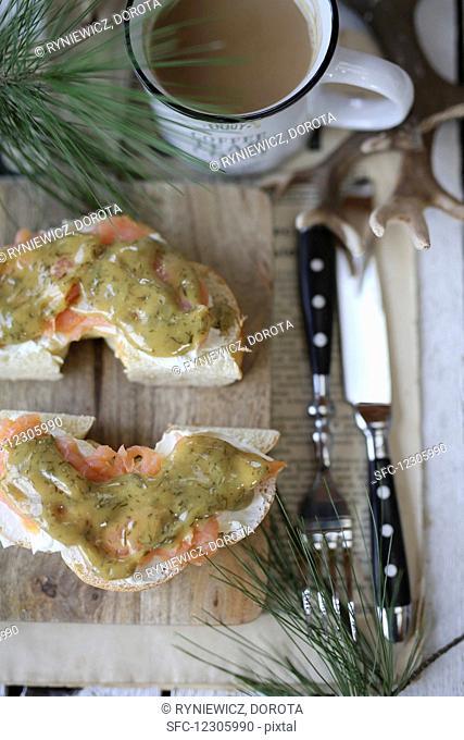 Philadelphia cream cheese sandwich with smoked salmon and sweet mustard