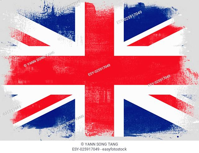 Flag of United Kingdom painted with brush on solid background