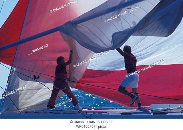 Men on sailboat
