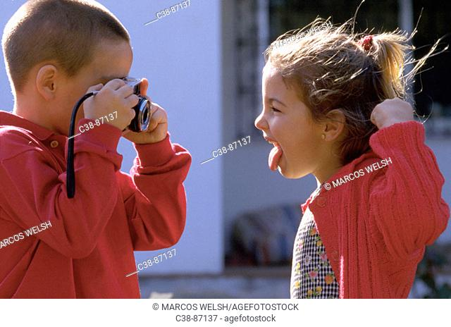 Children with camera