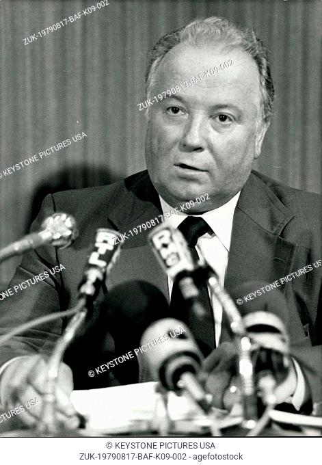 Aug. 17, 1979 - Georges Seguy, the Secretary General of the General Confederation of Labour, giving a press conference. (Credit Image: © Keystone Press...