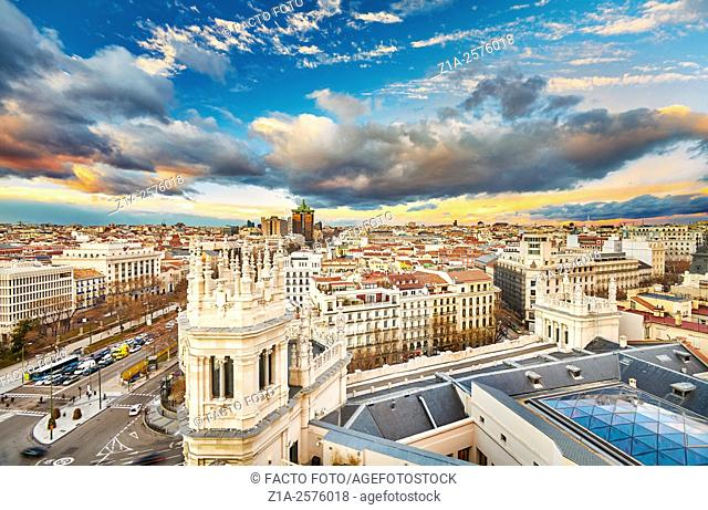 Madrid skyline from the Cibeles Palace rooftop. Madrid, Spain