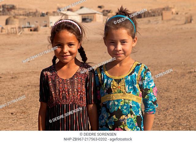 Two young girls in a remote village, Karakum Desert, Turkmenistan