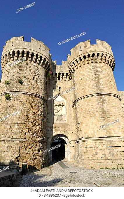 Rhodes  Dodecanese Islands  Greece  Marine Gate in the Old City Walls, Old Town, Rhodes City