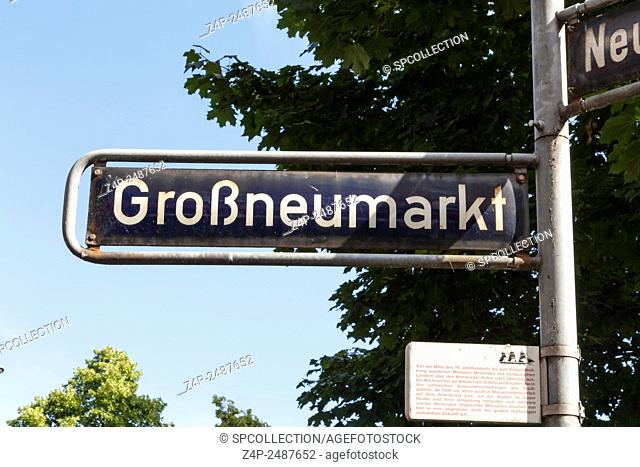 Grossneumarkt raod sign in Hamburg