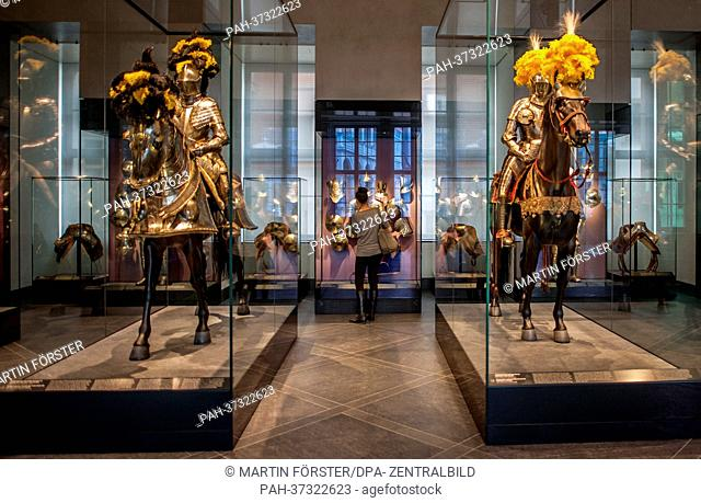 Exhibition pieces of the Armory of the Dresden State Art Collection are on display in the re-built Great Hall (Riesensaal) of Dresden Castle in Dresden,Germany