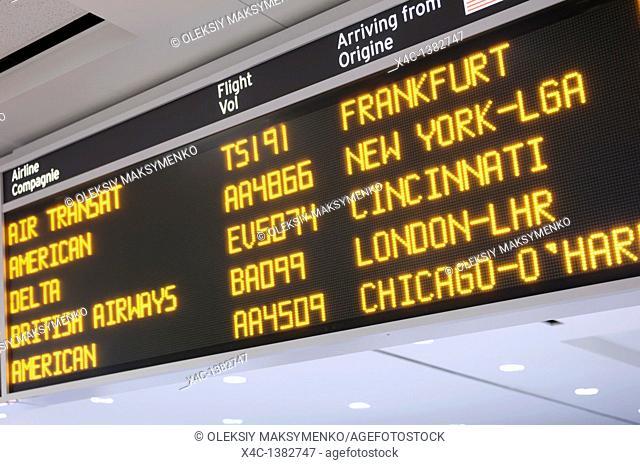 Toronto Pearson International airport arrivals board