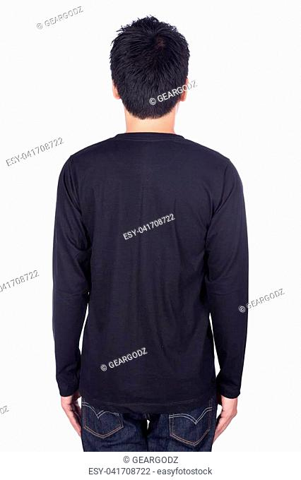 93b661ad1 man in black long sleeve t-shirt isolated on a white background (back side