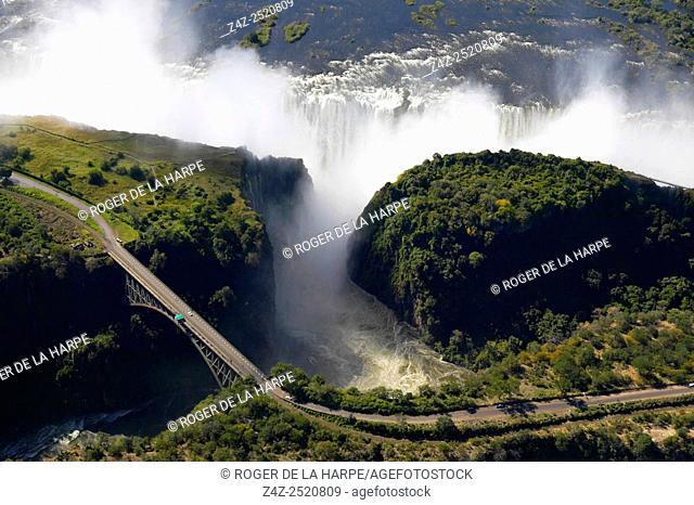 Aerial view of Victoria Falls and Batoka Gorge. Zimbabwe