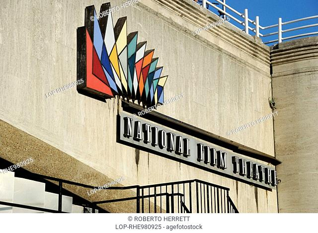 England, London, South Bank, National Film Theatre sign and logo on a wall on the Southbank