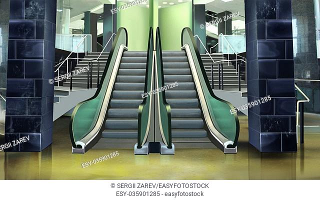 Digital painting of the building entrance with escalator
