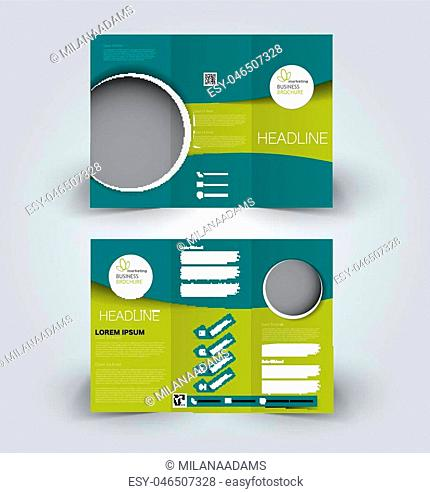 Brochure mock up design template for business, education, advertisement. Trifold booklet editable printable vector illustration. Green color