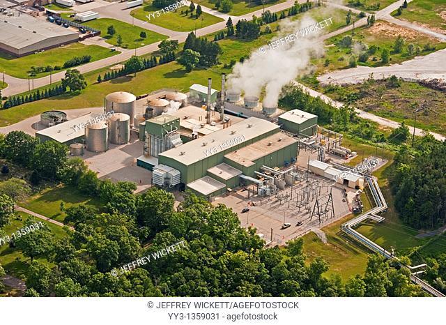 Aerial view of bio-fuels power plant in Ludington, Michigan, USA
