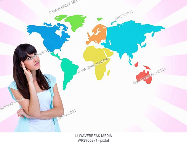 Businesswoman looking at Colorful Map with bright background