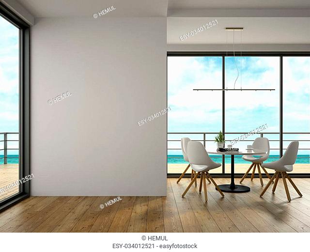 Interior modern design room with sea view 3D rendering