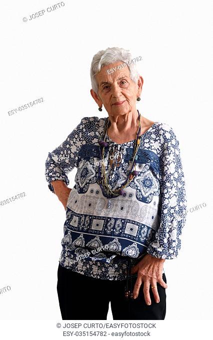 portrait of a senior woman on white