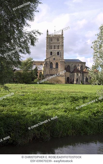 The historic Abbey at Tewkesbury, Gloucestershire, Severn Vale, UK