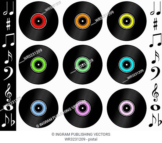 A collection of records with different colour labels with musical notes