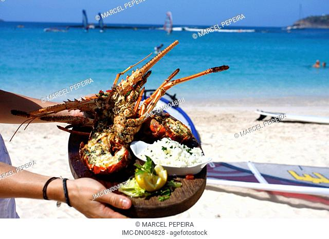 French West Indies, Guadeloupe, Saint Barthelemy, cooking lobster