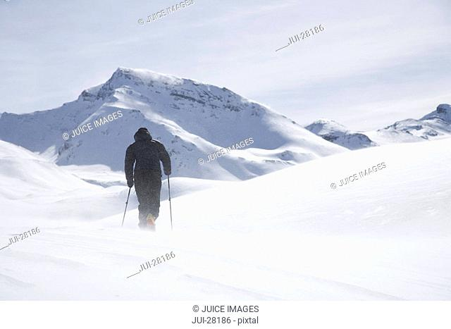 Mid adult man cross-country skiing in mountains on winter day