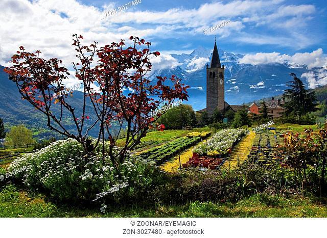 view to the parish church Sant'illario, Aosta valley, Italy
