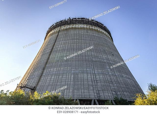 View on cooling tower of Chernobyl Nuclear Power Plant in Zone of Alienation around the nuclear reactor disaster in Ukraine
